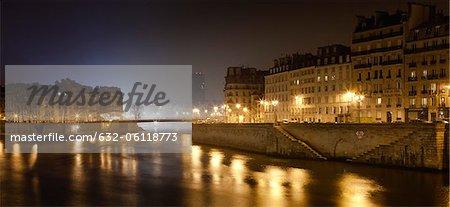France, Paris, Seine River at night