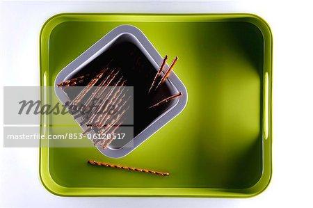 Saltsticks on green tray