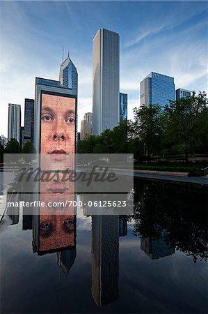 Crown Fountain, Millennium Park, Chicago, Illinois, Etats-Unis