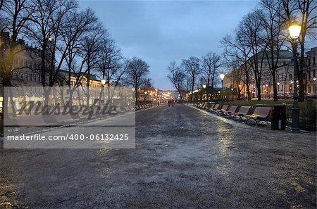 A view into the Esplanadi park in Helsinki