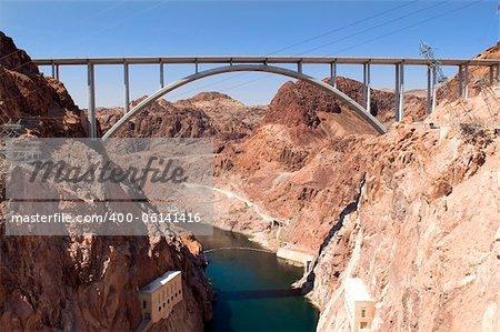 Hoover Dam and Colorado River Bridge, the dam on the Colorado River in Black Canyon, on the border of Arizona and Nevada, USA