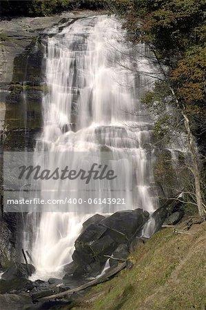 Rainbow Falls on the Horsepasture River in the Nantahala National Forest, Transylvania County, North Carolina, USA