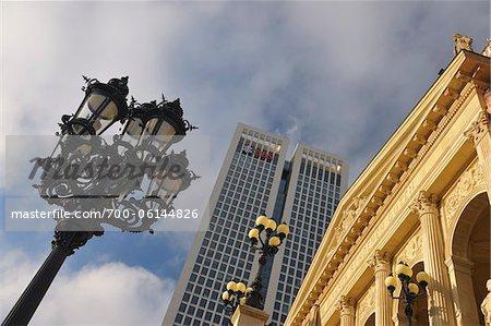 Old Opera House, Opernturm, and Street Lamp, Frankfurt am Main, Hesse, Germany