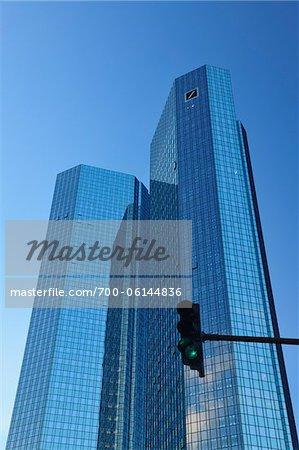 Deutsche Bank Skyscraper and Green Traffic Light, Frankfurt am Main, Hesse, Germany