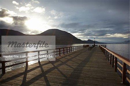 En bois Dock, lac Okanagan, Penticton, Colombie-Britannique, Canada