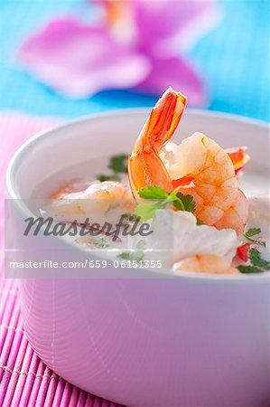 Soupe de crevettes à la crème sure (Thaïlande)