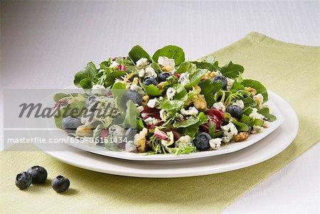 Myrtille, salade de fromage bleu et noix sur une plaque