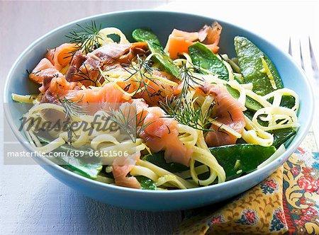 Tagliatelles au saumon fumé, sauce tout mange et citron