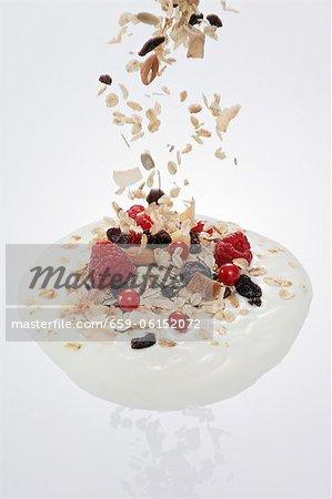 Muesli fruits tomber dans une cuillerée d'yogourt