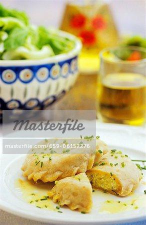 Kärnter Kasnudeln (poche de pâtes rempli de pommes de terre et quark, Autriche)