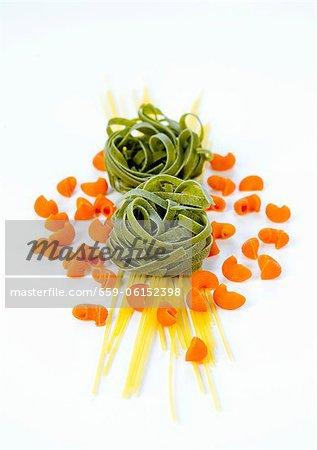 Spaghetti, grüne Tagliatelle und Pipe rigate