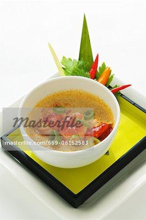 Steamed egg with spicy Szechaun prawns (Asia)