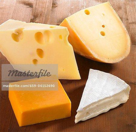Quatre morceaux de fromage (Emmental, Gouda, Cheddar et Brie)