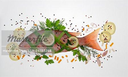 Brème a augmenté : brème enveloppée de saumon