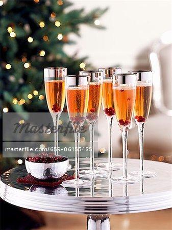 Champagne rose avec graines de Grenade
