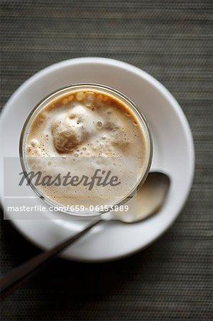 Affogato ; Glace de crème Dessert café ; D'en haut