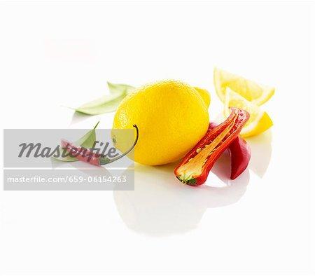 Lemon and chili peppers