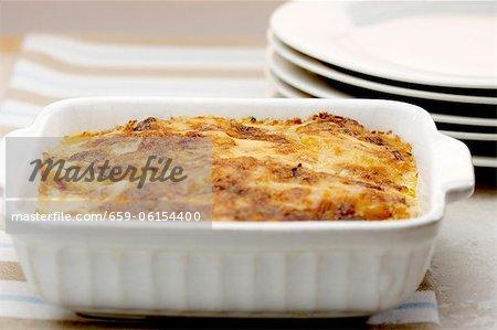Potato gratin in a baking dish