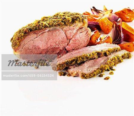Roast lamb with pesto chili crust