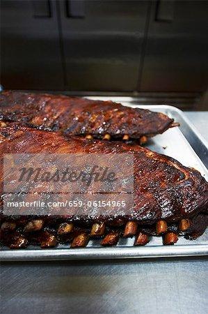 Barbecue Pork Ribs on Baking Sheets
