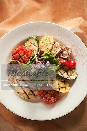 Gegrillte Gemüse-Platte; Von oben