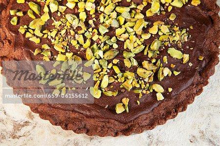 Sablés au chocolat avec pistaches et ganache au chocolat