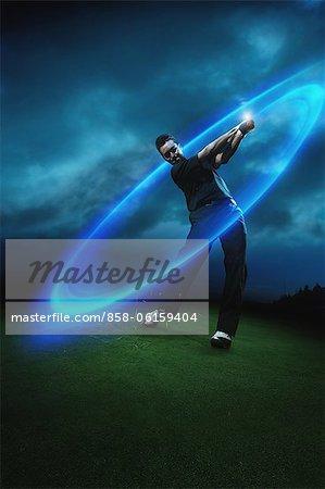 Golfer Swinging, Digital Composite