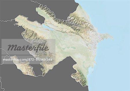 Plan-relief de l'Azerbaïdjan (avec bordure et masque). Cette image a été compilée à partir de données acquises par les satellites landsat 5 & 7 combinées avec les données d'élévation.