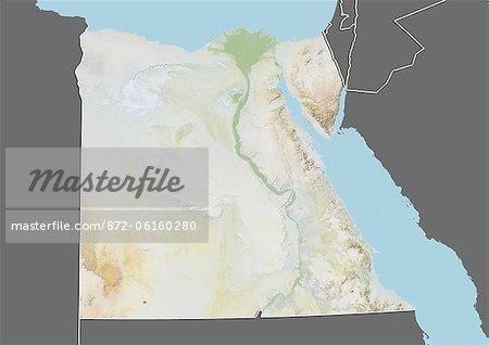 Plan-relief de l'Égypte (avec bordure et masque). Cette image a été compilée à partir de données acquises par les satellites landsat 5 & 7 combinées avec les données d'élévation.