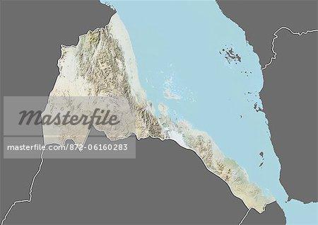 Plan-relief de l'Érythrée (avec bordure et masque). Cette image a été compilée à partir de données acquises par les satellites landsat 5 & 7 combinées avec les données d'élévation.