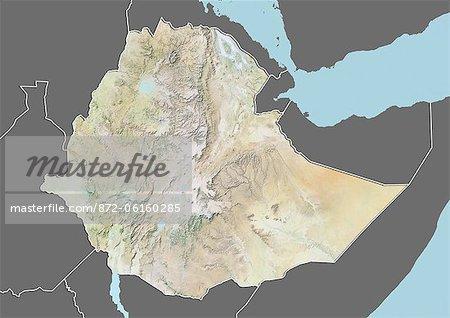 Plan-relief de l'Éthiopie (avec bordure et masque). Cette image a été compilée à partir de données acquises par les satellites landsat 5 & 7 combinées avec les données d'élévation.