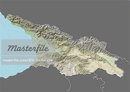 Plan-relief de Géorgie (avec bordure et masque). Cette image a été compilée à partir de données acquises par les satellites landsat 5 & 7 combinées avec les données d'élévation.