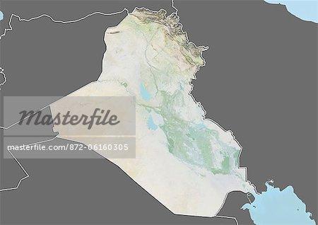 Plan-relief de l'Irak (avec bordure et masque). Cette image a été compilée à partir de données acquises par les satellites landsat 5 & 7 combinées avec les données d'élévation.