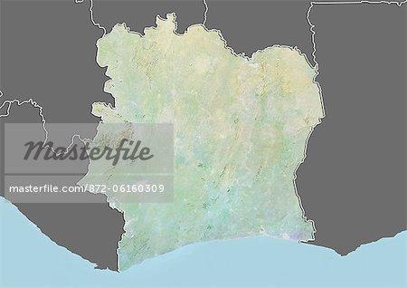 Plan-relief de la côte d'Ivoire (avec bordure et masque). Cette image a été compilée à partir de données acquises par les satellites landsat 5 & 7 combinées avec les données d'élévation.