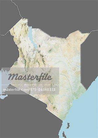 Carte du relief du Kenya (avec bordure et masque). Cette image a été compilée à partir de données acquises par les satellites landsat 5 & 7 combinées avec les données d'élévation.