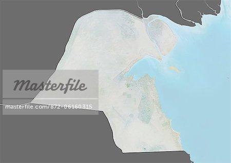 Carte du relief du Koweït (avec bordure et masque). Cette image a été compilée à partir de données acquises par les satellites landsat 5 & 7 combinées avec les données d'élévation.