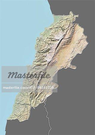 Carte du relief du Liban (avec bordure et masque). Cette image a été compilée à partir de données acquises par les satellites landsat 5 & 7 combinées avec les données d'élévation.