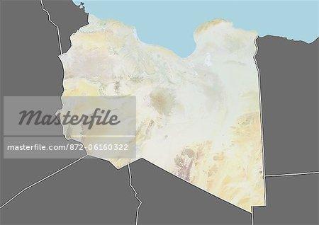 Plan-relief de Libye (avec bordure et masque). Cette image a été compilée à partir de données acquises par les satellites landsat 5 & 7 combinées avec les données d'élévation.