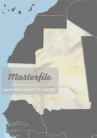 Plan-relief de Mauritanie (avec bordure et masque). Cette image a été compilée à partir de données acquises par les satellites landsat 5 & 7 combinées avec les données d'élévation.