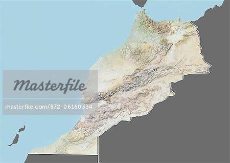 Carte du relief du Maroc (avec bordure et masque). Cette image a été compilée à partir de données acquises par les satellites landsat 5 & 7 combinées avec les données d'élévation.