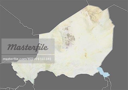 Carte du relief du Niger (avec bordure et masque). Cette image a été compilée à partir de données acquises par les satellites landsat 5 & 7 combinées avec les données d'élévation.