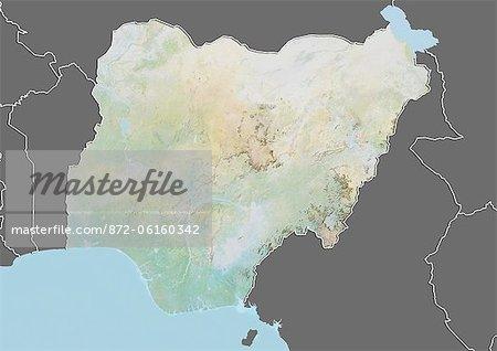 Carte du relief du Nigéria (avec bordure et masque). Cette image a été compilée à partir de données acquises par les satellites landsat 5 & 7 combinées avec les données d'élévation.