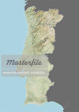 Plan-relief de Portugal (avec bordure et masque). Cette image a été compilée à partir de données acquises par les satellites landsat 5 & 7 combinées avec les données d'élévation.