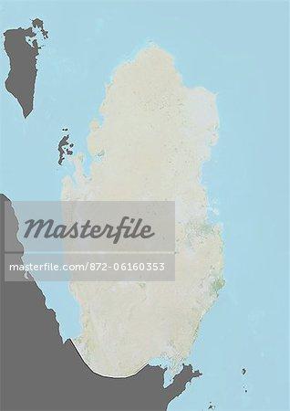 Plan-relief de Qatar (avec bordure et masque). Cette image a été compilée à partir de données acquises par les satellites landsat 5 & 7 combinées avec les données d'élévation.