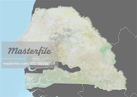 Carte du relief du Sénégal (avec bordure et masque). Cette image a été compilée à partir de données acquises par les satellites landsat 5 & 7 combinées avec les données d'élévation.