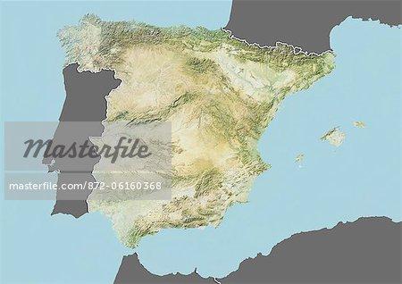Plan-relief de l'Espagne (avec bordure et masque). Cette image a été compilée à partir de données acquises par les satellites landsat 5 & 7 combinées avec les données d'élévation.