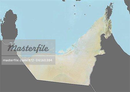 Plan-relief d'Émirats Arabes Unis (avec bordure et masque). Cette image a été compilée à partir de données acquises par les satellites landsat 5 & 7 combinées avec les données d'élévation.