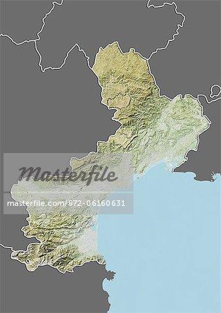 Plan-relief de Languedoc-Roussillon, France. Cette image a été compilée à partir de données acquises par les satellites LANDSAT 5 & 7 combinées avec les données d'élévation.