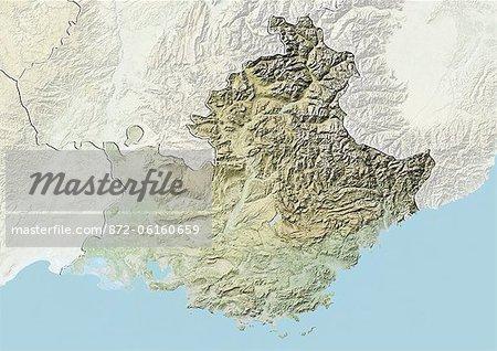 Plan-relief de Provence-Alpes-Cote d'Azur, France. Cette image a été compilée à partir de données acquises par les satellites LANDSAT 5 & 7 combinées avec les données d'élévation.