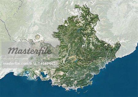 Vue satellite de Provence-Alpes-Cote d'Azur, France. Cette image a été compilée à partir de données acquises par les satellites LANDSAT 5 & 7.